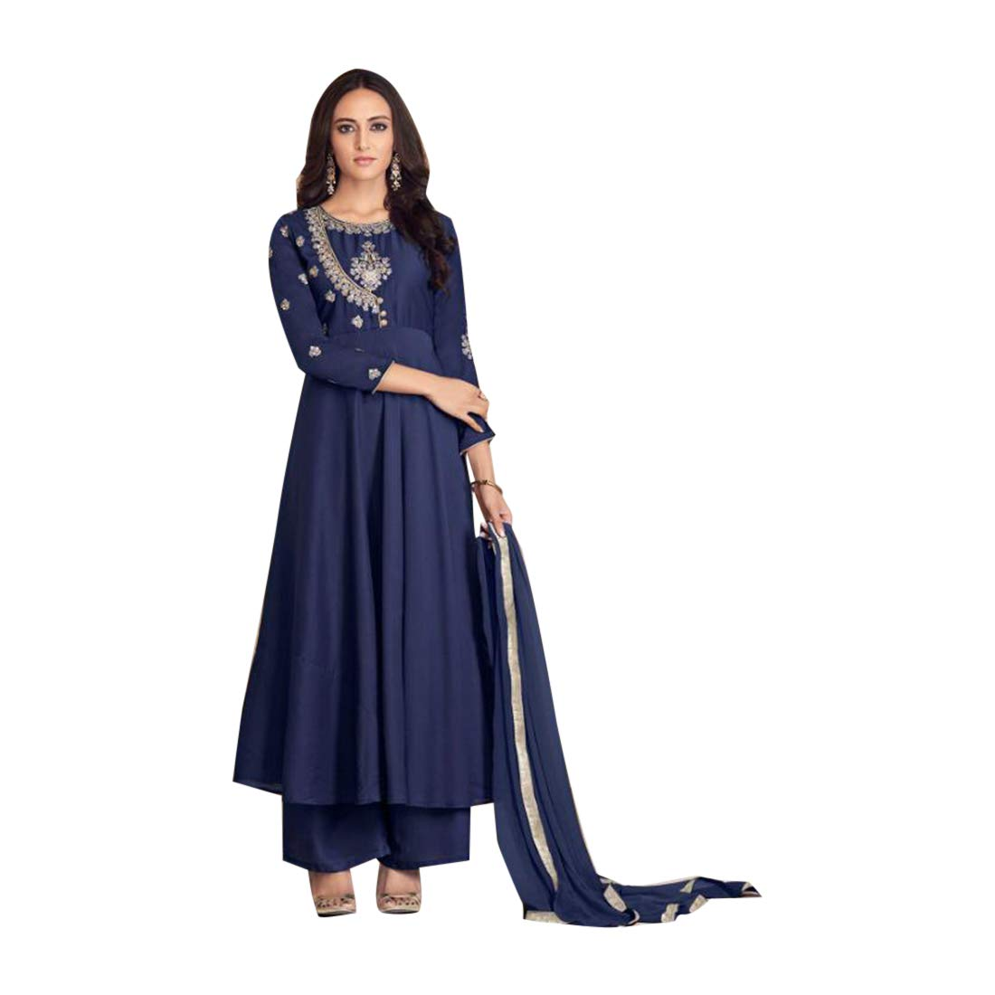 Navybluee Ethnic Eid special Designer Maslin Plazo style Salwar Kameez Suit Women Evening Party wear Bespoke 7895 3