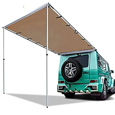 Hasika All-weather Car Awning Side Rooftop Tent Sun Shelter Designed for Vehicle with Roof Rack--- Supersized 8.2ft x 9.8ft Khaki by Hasika