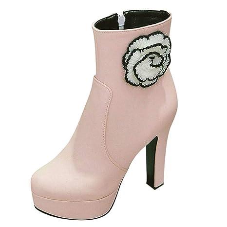 LuckyGirls Botas con Tacón de Mujer Flores Moda Botine Botina Zapatillas Casuales Calzado Zapatos con Cremallera