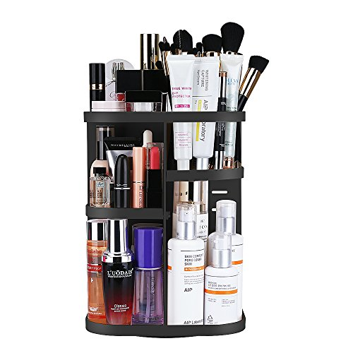 KEDSUM Makeup Organizer, 360 Degree Rotating Cosmetics Storage Box, Multi-Function Makeup Holder with DIY Adjustable Tray, Large Capacity, Fits for Lots of Cosmetics and Accessories, Black