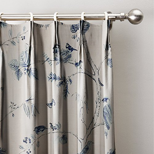 ChadMade Rural Pastoral Print Window Curtain 72″ W x 84″ L, Pinch Pleated Blackout Lining Darpes Panel For Bedroom Living Room Hotel Restaurant (1 Panel), ANCIENT BLUE