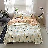 HIGHBUY Cactus Print Kids Twin Duvet Cover Sets Cotton Lightweight Soft Bedding Sets 3 Pieces for Children Girls Bed Collection Zipper Closure 4 Corner Ties