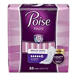 Poise Incontinence Pads, Ultimate Absorbency, Regular, 33 Count (4 Packages)
