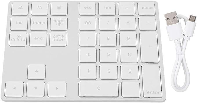 Teclado Numérico Inalámbrico, Mini 34 Teclas Bluetooth 3.0 Teclado Numérico Ultrafino para Portátil Fácil de Transportar para Mac OS Windows, iOS, ...