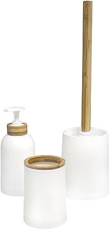 Balvi Set Salle de Bain Zen Couleur Blanc Ensemble Set de 3 pièces  Distributeur de Savon,Verre et Brosse à WC Plastique PP/Bambou