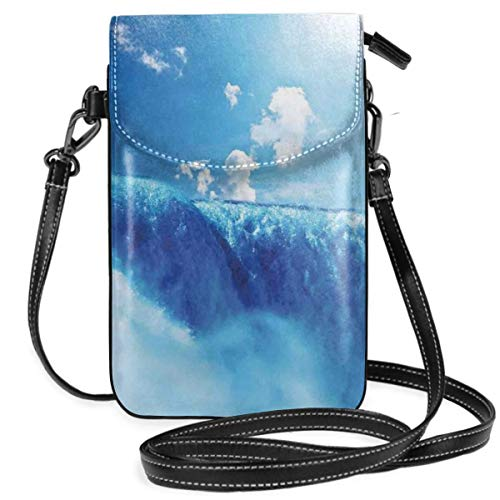 Women Small Cell Phone Purse Crossbody,Niagara Falls And Clear Sky Landscape Image Majestic River Nature Theme Artistic ()