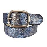 1.5'' Width Soft Metallic Glitter Leather Belt in Blue L/XL