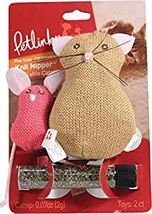 Petlinks Knit Nipper Refillable Catnip Cat Toy, Cat & Mouse