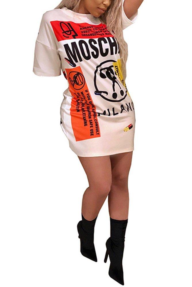 Remxi Women Casual Graffiti Half Sleeve Tunic T-Shirt Dress Party Clubwear White XL