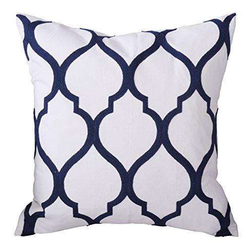 PONY DANCE Euro Sofa Throw Pillow Cover Square Cotton Embroidery Pillow Case Handmade Cushion Cover for Couch Including Invisible Zipper Design,18 x 18 Inch,Moroccan Quatrefoil Waves,Navy Mix White