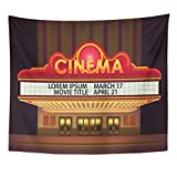 TOMPOP Tapestry Movie Brightly Theater Glowing Retro Cinema Neon Sign Old White Marquee Billboard Home Decor Wall Hanging for Living Room Bedroom Dorm 50x60 Inches