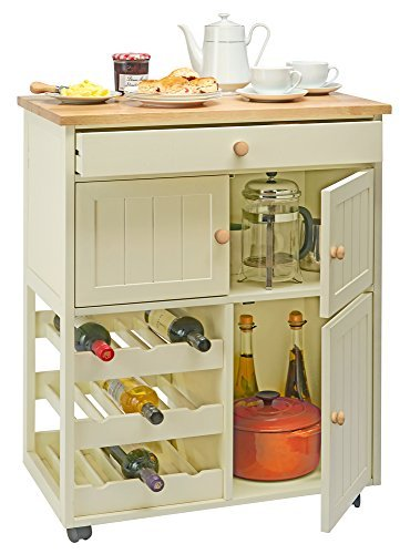 Traditional Buttermilk Multi Purpose Pantry Cabinet Wooden Mobile Freestanding Storage Sideboard Cart With Wine Rack