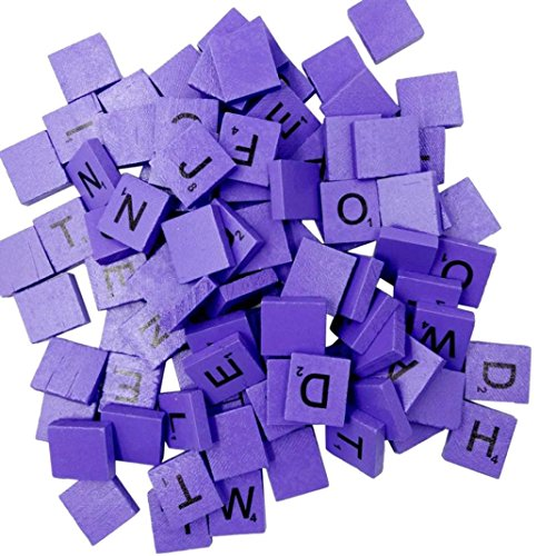 100 Wooden Alphabets Block Set, Scrabble Tiles A-Z (All Letters Include) Capital Mixed Letters Numbers For Crafts Packed Safely in Bubble Bag (Purple)