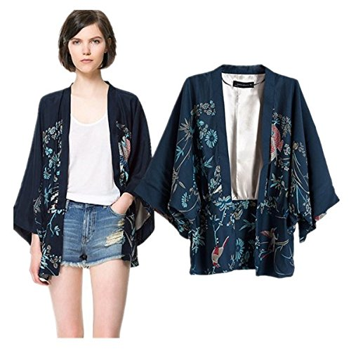 Japanese Style Women kimono Casual Women Blouse Coat (L) by Ihomeu (Image #2)
