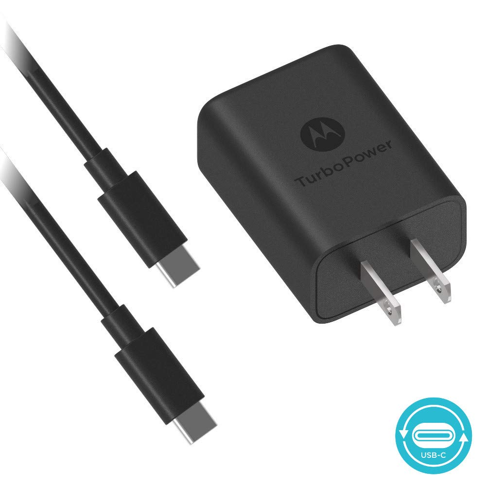 Motorola TurboPower 27 PD Charger w/ 3.3ft (1m) USB-C to C cable for Moto Z/Z2/Z3/Z4/X4/G7/G7 Play/G7 Plus/G7 Power/G6/G6 Plus[Not for G6 Play]- Power ...