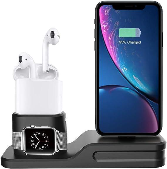 Apple Watch support de charge 3 en 1 iPhone Coque en silicone chargeur station d'accueil Airpods casque Compatible avec pour iPhone X/8 Plus/8/7 ...