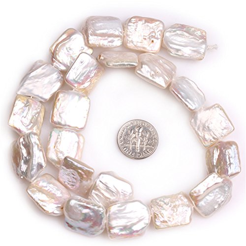 - JOE FOREMAN 16x20mm Nuclear Edison Pearl Semi Precious Gemstone White Rectangle Loose Beads for Jewelry Making DIY Handmade Craft Supplies 15