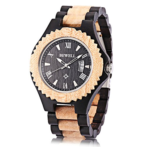 gblife-w129a-bewell-mens-wooden-watch-lightweight-retro-band-23cmlx-24cmw-with-date-luminous-ebony-m