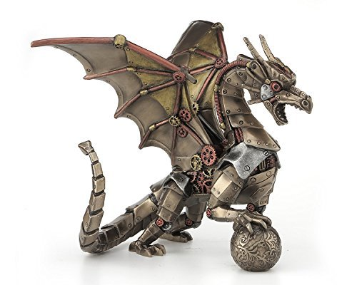 (Steampunk Mechanical Gear Dragon Sitting Holding Sphere Statue Sculpture)