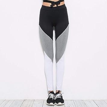 YOGOAOO Pantalón de Yoga para Mujer Contraste de Color Malla ...