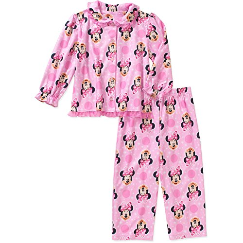 Disney Minnie Toddler Little Girls 2 Piece Button Down Flannel Pajama Set - Button Pajamas Piece Flannel 2