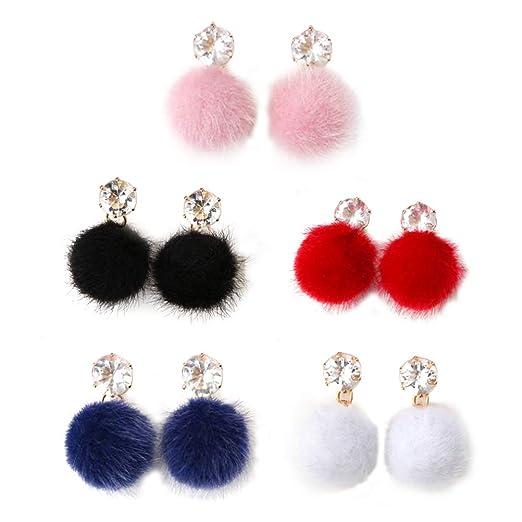 2fec76bc0a5a 5 pares de aretes de moda de mujer mullido pompón bola de piel pendiente  joyería femenina