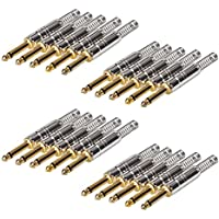 20 Pack 1/4 Audio Connector Plugs 6.35mm TS mono Metal Jack W/Spring 1/4 Inch Adapter for VCD Microphone Speaker/Patch Cables Solder Type