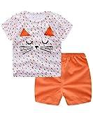 Unisex Baby Boys Girls 2-Piece Cotton Pajama Sleepwear Summer Outfits Set(6-12 Months,Cat)