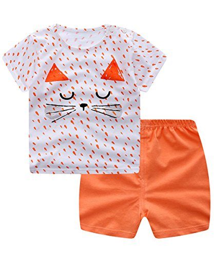 Unisex Baby Boys Girls 2-Piece Cotton Pajama Sleepwear Summer Outfits Set(3-4 Years,Cat)