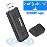 Elekele WiFi Adapter 1200Mbps Wireless USB Network Adapter 802.11ac Dual Band 2.4G/5.8G with WPS Connection & Analog AP Function (mini 1200Mbps)