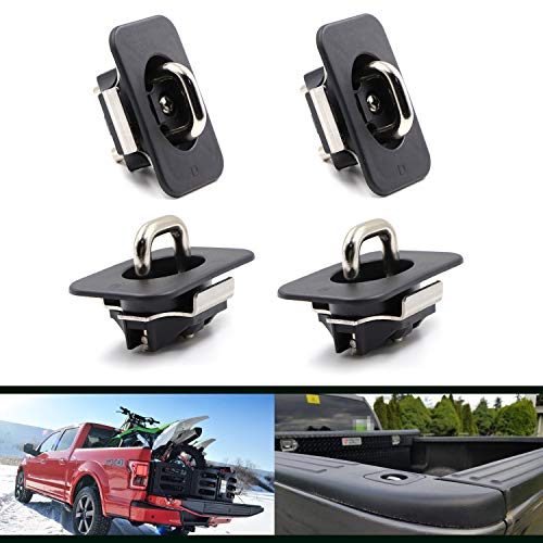 - 4 Pcs Retractable Truck Bed Tie Down Anchors for 1998-2014 F-150, 1998-2016 Super Duty, 1999-2013 Silverado Sierra (Does Not Fit 3500), 1995-2018 RAM (09-18 Ram Rail Cap Cut Required)