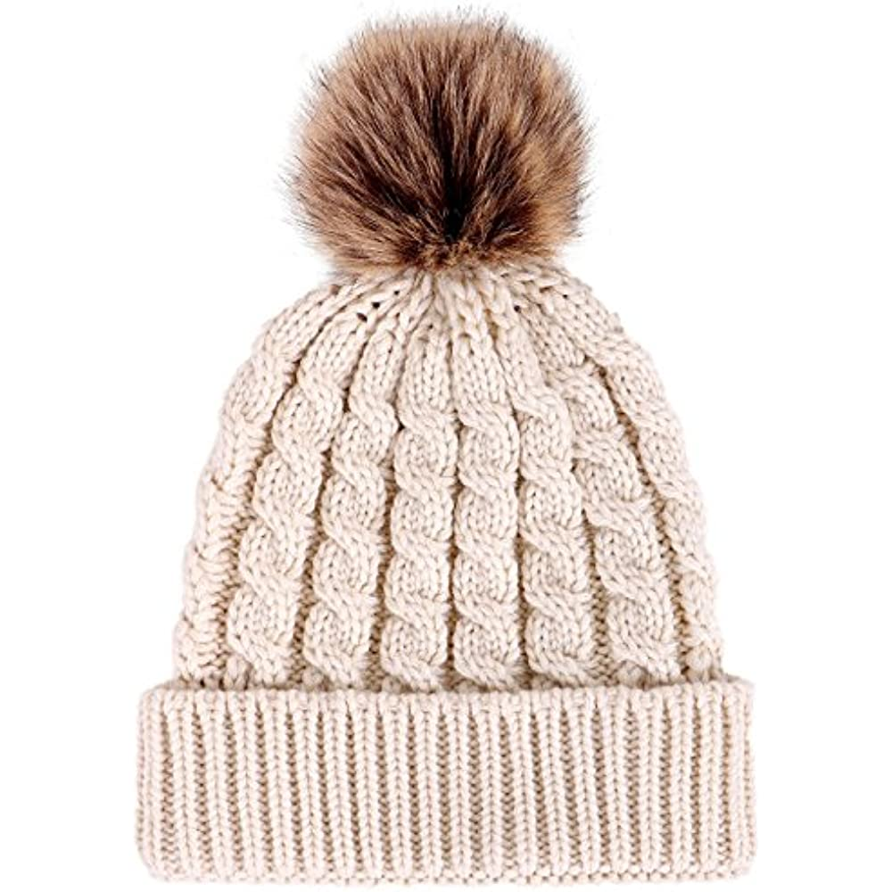 820e1524929 Details about Skullies   Beanies Women s Winter Soft Knitted Hat With Faux  Fur Pom Pom