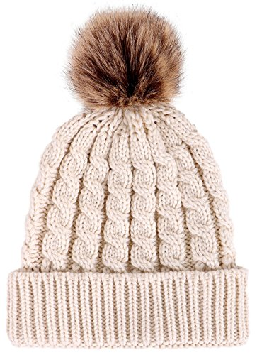 Winter Hand Knit Beanie Hat with Faux Fur Pompom, Cream -