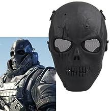 Black Army Skull Skeleton Airsoft Paintball Bb Gun Game Face Mask