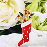 Bling Enamel Christmas Brooch Pins Bouquet Xmas Decoration Stocking Boot