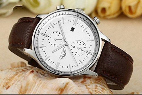 Gosasa Mens Brown Leather Strap Luminous Waterproof Calendar Fashion Luxury Brand Watch