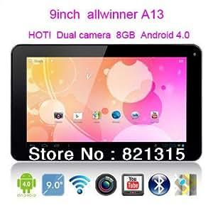 """ARBUYSHOP freeshipping 9inch """"pantalla táctil capactive tablet pc 800 * 480 WIFI soporte 3G externa de doble cámara de Allwinner A13 8GB Android4.0 9, tableta"""