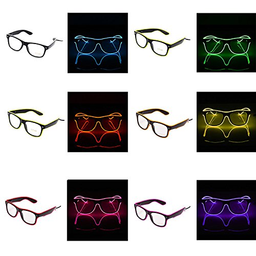 Neon El Wire LED Light Flashing Glasses Plastic Party Favor Eyewear Novelty Luminous Festival Eyeglasses for Christmas Halloween Carnival Costume Party Dance Ball