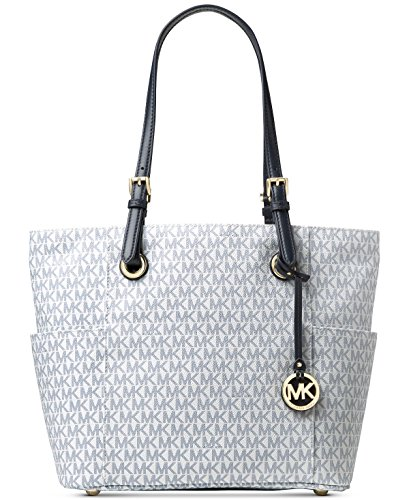 e256a6b47f17 Michael Kors Women's Jet Set Travel Small Logo Tote Bag (Optic White/Navy)