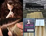 Cheap 20pcs 22″ Inches Tape In Remy Seamless Super Thin Skin Weft PU Straight Human Hair Extensions Honey Blonde Mix Platinum Blonde