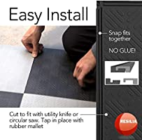 Protective Flooring for Your Garage Resilia Flexible Interlocking Snap Floor Tiles 10 Pack Home 12-inch Red Color 0.25-inch Coin Texture Office or Gym