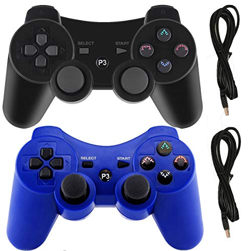 Molgegk Wireless Controllers For PS3 Playstation 3 Dualshock Six-axis,Bluetooth Remote Gaming Gamepad Joystick Includes USB Cable (Black and Blue,Pack of 2)  (Playstation 3 Wireless Dual Shock)