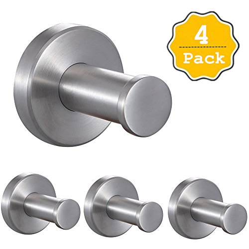 FUNJIA Unleaded Stainless Steel Wall-Mount Robe Towel Hook, Brushed Finish, 2-Inch, 4 Pieces