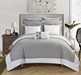Chic Home Peninsula 10 Piece Comforter Reversible Two Tone Hotel Collection with Sheets, King Grey