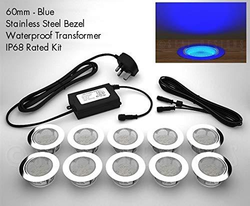 10 x 60 mm luces LED tabla/resistentes/zócalo de la cocina azul - con cierre adhesivo Designs: Amazon.es: Iluminación