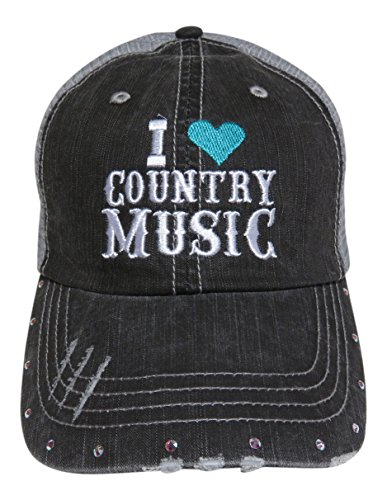 Embroidered I Love Country Music Grey Trucker Cap Hat w/Swarovski Crystals (Mint Heart)