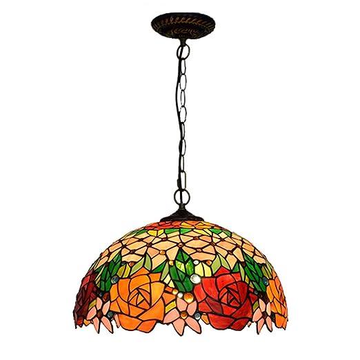 Rosa Tiffany Chandelier Style LED Lámpara Redondo ZY Pintado XuZkiP