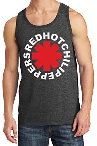 Mens Red Hot Chili Peppers Asterisk Tank Top, Dark Heather, Large (Rock Band Red Hot Chili Peppers Dlc)