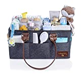 Farber Baby Diaper Caddy Organizer   Large Baby Diaper Organizer Portable Storage Basket for Baby Needs   Nursery Changing Table Storage Bin and Car Organizer for Diapers and Baby Wipes (Dark Gray)
