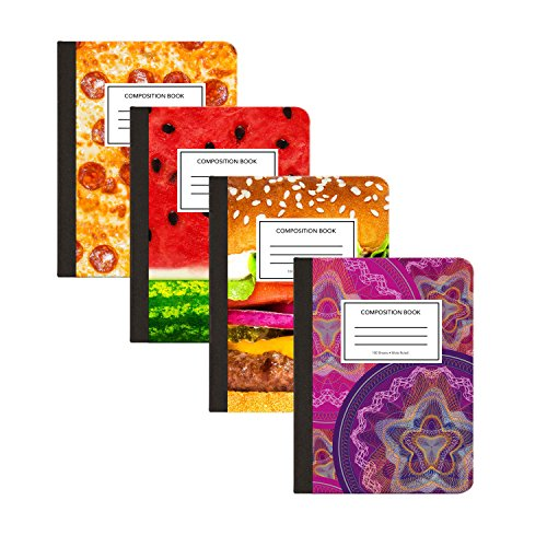 "Composition Notebooks By S&G Goods: Pack Of 4 Wide Ruled School Writing Books With Assorted Colors –100 Sheet College Note Taking Journal With Playful Designs -Size 9.75""x 7.5""And Sewn Binding by S&G Goods"